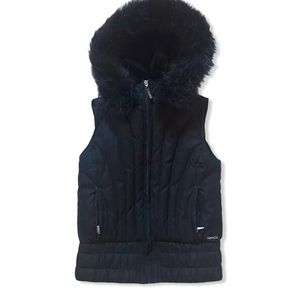RW&CO Down Filled Hooded Black Vest with Faux Fur
